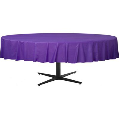 Purple Round Tablecover - Plastic - 86cm x 2.1m