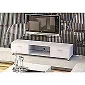White Low Rise Wood Effect TV Stand