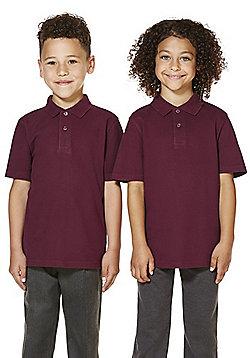 "F&F School 2 Pack of Boys Teflon EcoElite""™ Polo Shirts with As New Technology - Burgundy"