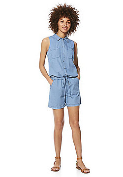 Only Denim Sleeveless Playsuit - Mid wash