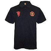 Manchester United FC Mens Polo Shirt - Black