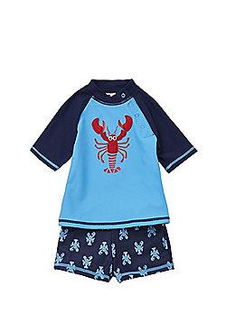 F&F Lobster UPF 50+ Rash Vest and Shorts Set - Blue