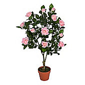 Homescapes Pink Potted Rose Tree Artificial Plant, 90 cm