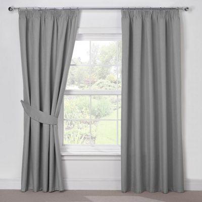 Julian Charles Luna Silver Grey Blackout Pencil Pleat Curtains - 66x54 Inches (168x137cm)