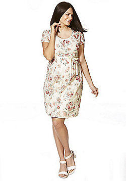 Mamalicious Floral Lace Maternity Dress - Cream