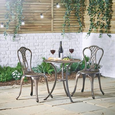 VonHaus Cast Aluminium Bistro Set - Black with Brushed Bronze Finish