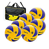 Mikasa MVA 310 6 Ball Volleyballs and bag