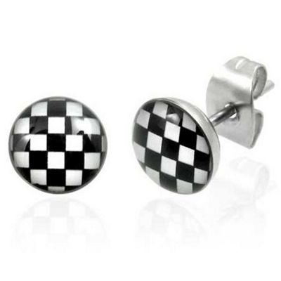 Urban Male Stainless Steel Checkerboard Stud Earrings 7mm