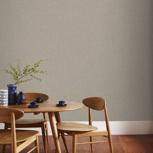 Boutique Chenille Textured Plain Beige and Gold Wallpaper