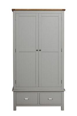 Aspen Painted Sage Grey Oak Wardrobe / Large 2 Door 2 Drawer Storage