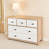 Bianco Oak Effect 5 Draw Chest of Drawers