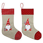 Set of 2 Brown & Red Linen 34cm Christmas Gnome Stockings