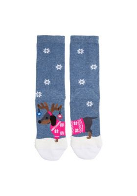 F&F Dachshund Christmas Ankle Socks One Size Blue