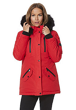 F&F Faux Fur Trim Waterproof Jacket - Red