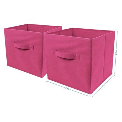 2 x Pink Large Foldable Square Canvas Storage Box Collapsible Fabric Cubes Kids Home