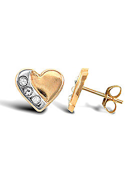 Ladies 9ct Yellow and White Gold White Round Brilliant Cubic Zirconia Pave Love Heart Stud Earrings