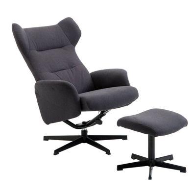 Homcom Linen Office Swivel Chair Stool Set Reclining Wingback Desk Seat - Dark Grey