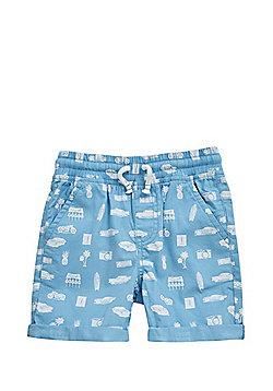 F&F Car Print Drawstring Shorts - Blue