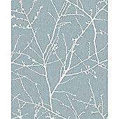 Superfresco Easy Paste The Wall Innocence Duck Egg Metallic Wallpaper