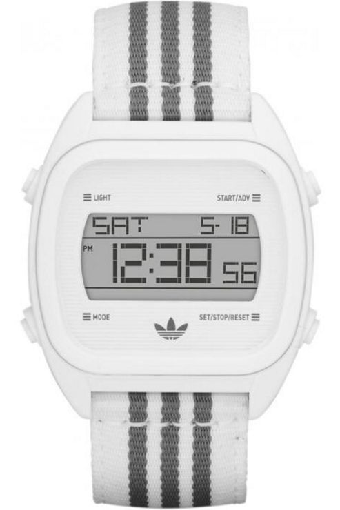 Adidas Gents Sports Digital Chronograph White Material Strap Watch ADH2732