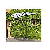 Outsunny Half Parasol Aluminium Frame Crank (2.7m, Cream)--NO BASE INCLUDED