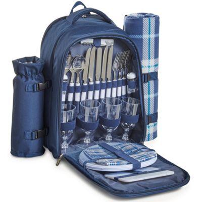 VonShef 4 Person Picnic Backpack Rucksack Bag - Navy tartan