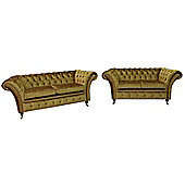 Chesterfield Balmoral 2.5 + 2 Seater Sofa Settee Suite Boutique Gold Crush Velvet Fabric