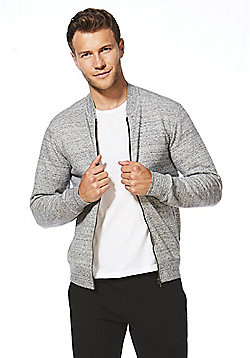 F&F Textured Jersey Bomber Jacket - Marl grey