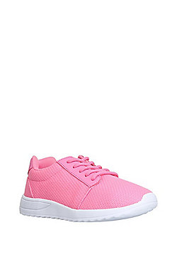 F&F Engineered Mesh Lace-Up Trainers - Neon pink
