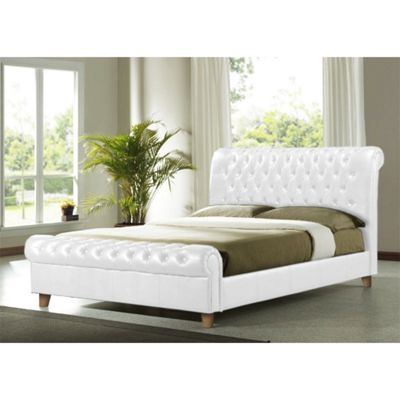 White Faux Leather Bed Frame - Double 4ft 6