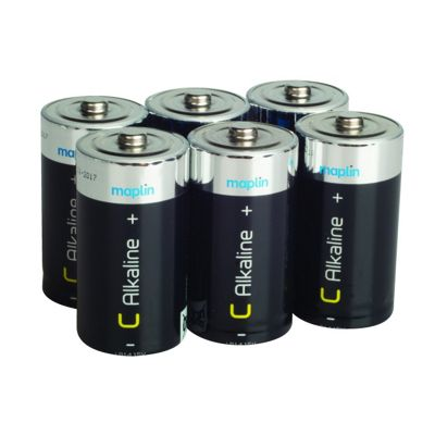 6 Pack Maplin C Battery Alkaline Extra Long-Life R14