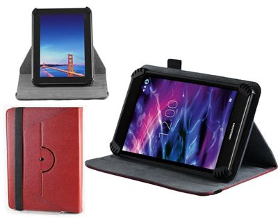 Navitech Red Faux Leather Hard Case Cover With 360 Rotational Stand For The All-New Fire HD 8 Tablet with Alexa, 8 inch HD Display, 32 GB