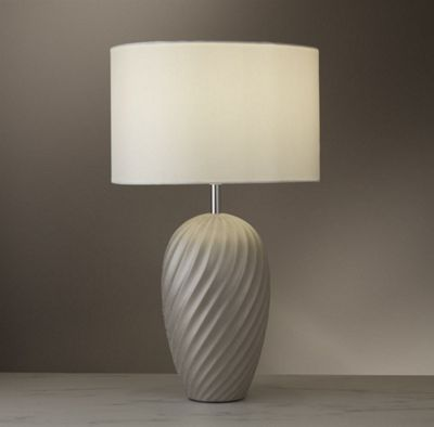 TABLE LAMP - CERAMIC SILVER SHIMMER BASE WITH IVORY FAUX SILK DRUM SHADE
