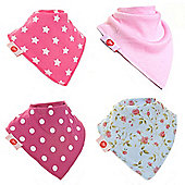 Zippy Baby Girl Bandana Dribble Bib 4 pack To Match Socks