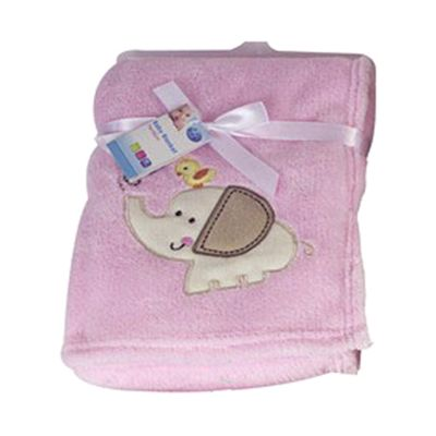 First Steps Supersoft Fleece Baby Blanket Pink Elephant 75x100cm