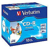 Verbatim CD-R 700MB 80 Minute 52x DataLife Plus Fast Dry Printable Jewel Case - 10 Pack
