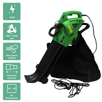 Charles Bentley 3000W Electric 220V Leaf Blower / Vacuum / Shredder With 45L Bag