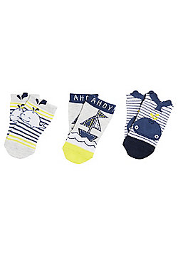 F&F 3 Pair Pack of Whale and Boat Ankle Socks - Multi
