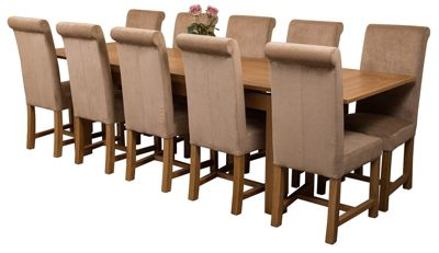 Richmond Large Extending Solid Oak Dining Set Table & 10 Beige Fabric Chairs