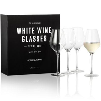 Andrew James Illustro Crystal Wine Glasses for White Wine (490ml) - Set of 4 in Gift Box