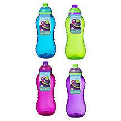4 Sistema 460ml Twister Drinks Bottles, Blue, Green, Pink, Purple