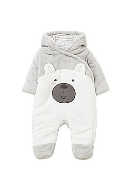 F&F Bear Face Fleece Pramsuit - Grey