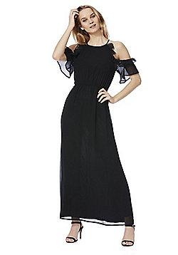 Mela London Frilly Cold Shoulder Maxi Dress - Black
