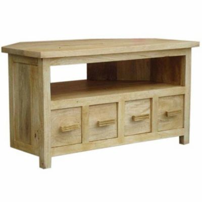Homescapes Mangat Corner TV Unit Oak Shade