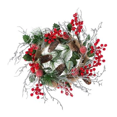 Homescapes Artificial Christmas Wreath with Berries, Apples and Silver Decoration