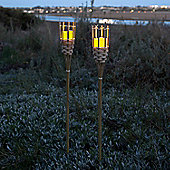 Pair of Bamboo Torches with Outdoor Battery LED Candles