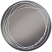 Swirl - Led Illuminated Circular Wall Mirror Light With Demister - Silver