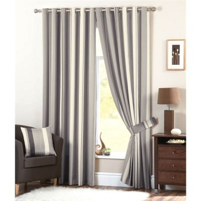 Dreams n Drapes Whitworth Charcoal Lined Eyelet Curtains - 90x90 Inches (229x229cm)