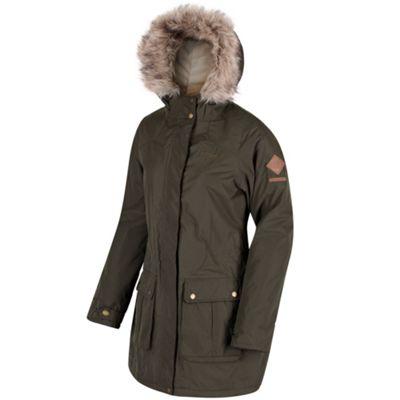 Regatta Schima II Faux Fur Trim Insulated Parka Jacket 12 Khaki
