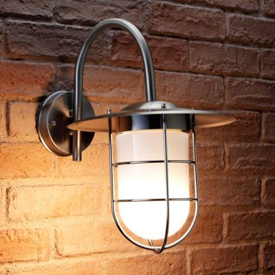Auraglow Stainless Steel Outdoor Vintage Fishermans Wall Lamp with LED Light Bulb (Warm White)
